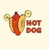 热狗商标为eco体育生活 快餐的传染媒介商标 免版税图库摄影