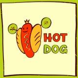 热狗商标为eco体育生活 快餐的传染媒介商标 库存照片