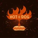 热狗商标 快餐的传染媒介商标 例证 免版税图库摄影