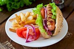 热狗用在白色板材的炸薯条 库存图片