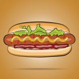 热狗用番茄酱、芥末和莴苣 库存照片