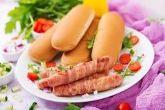 热狗的成份用香肠 烟肉、黄瓜、蕃茄和红洋葱 免版税库存图片