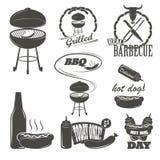 热狗葡萄酒印刷术标签和设计 库存照片
