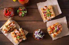 热狗-与墨西哥辣调味汁的三明治在木背景 库存图片