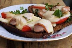 热的乳酪、蕃茄和香肠三明治在黑麦面包 免版税库存照片