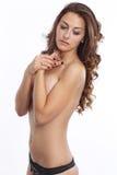 热的半赤裸妇女 库存图片