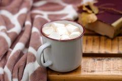 热的可可粉用在格子花呢披肩和书的背景的蛋白软糖 免版税库存图片
