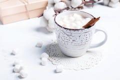 热的可可粉用蛋白软糖和桂香 免版税库存照片