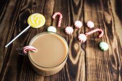 热的可可粉薄荷的糖果假日 免版税库存照片
