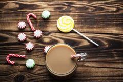 热的可可粉薄荷的糖果假日 库存图片
