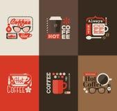 热的咖啡。套传染媒介设计元素 免版税库存图片
