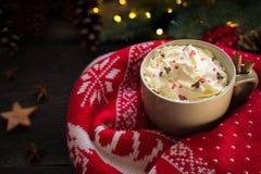 热的圣诞节饮料用桂香、奶油、xmas光和被编织的套头衫 免版税库存照片