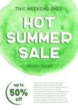 热的夏天销售横幅模板提议飞行物背景 库存图片