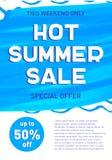 热的夏天销售横幅模板提议飞行物背景 免版税库存照片