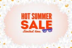 热的夏天销售横幅 传染媒介折扣横幅模板 现代印刷术标签 免版税库存图片