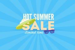 热的夏天销售横幅 传染媒介折扣横幅模板 现代印刷术标签 库存照片