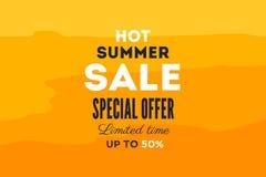 热的夏天销售横幅 传染媒介折扣横幅模板 免版税库存图片