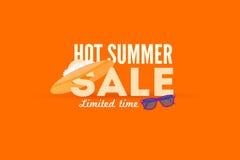 热的夏天销售横幅 传染媒介折扣横幅模板 图库摄影