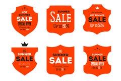 热的夏天销售横幅 减速火箭的被称呼的印刷术标签 葡萄酒文本贴纸设计 图库摄影