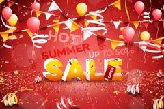 热的夏天销售横幅 纸文本设计 免版税库存图片