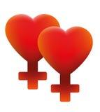 热的女同性恋的爱标志两心脏 向量例证