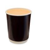 热的奶茶拿走在白色隔绝的纸玻璃 免版税库存图片