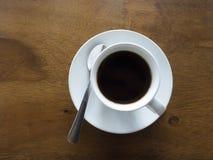 热的无奶咖啡杯子顶视图  免版税库存图片