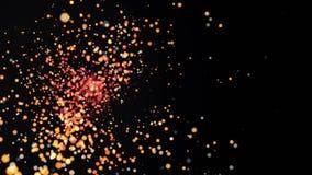 热的易爆的微粒的转折 飞行微粒的抽象动画从一个来源的 发光的强光在焦点  皇族释放例证
