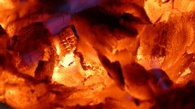 热的木炭 在壁炉的热 从木柴的热 射击壁炉 股票视频