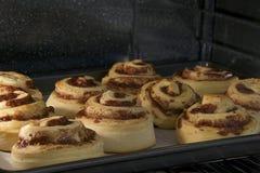 热的桂皮卷烘烤在对流烤箱的,几乎完成的上面 免版税库存照片