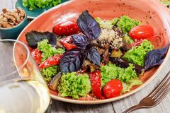 热的沙拉用烤蕃茄,茄子,夏南瓜,红辣椒,沙拉叶子,装饰用被磨碎的核桃和蓬蒿和玻璃o 图库摄影