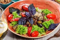 热的沙拉用烤蕃茄,茄子,夏南瓜,红辣椒,沙拉叶子,装饰用被磨碎的核桃和蓬蒿 免版税库存图片