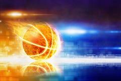 热的灼烧的篮球 库存照片