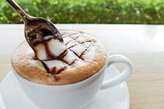 热的热奶咖啡,咖啡 免版税库存图片