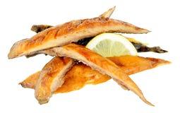 热的熏制的鲭鱼鱼小条 库存照片