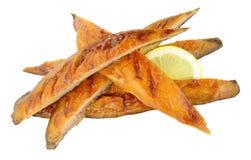 热的熏制的鲭鱼鱼小条 免版税库存照片