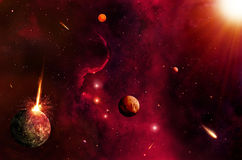 热的空间和星背景 图库摄影