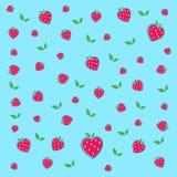 热的红色草莓和绿色叶子 皇族释放例证