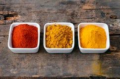 热的红色辣椒粉、咖喱和姜黄粉末 免版税图库摄影