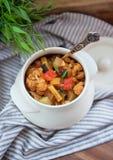 热的罐被炖的菜和肉用西红柿酱 库存照片