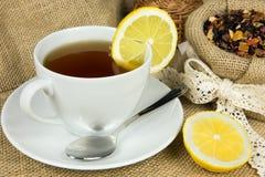 热的茶和干燥草本叶子 免版税图库摄影