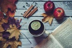 热的茶用在秋天的柠檬 库存图片