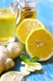 热的茶用姜、柠檬、蜂蜜和薄菏 库存照片