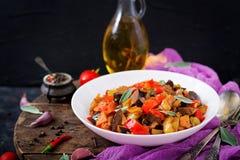 热的辣炖煮的食物茄子 库存照片