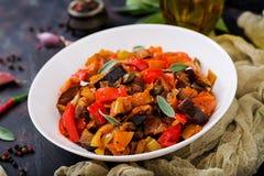 热的辣炖煮的食物茄子 免版税图库摄影