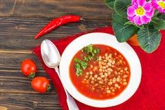热的辣蕃茄汤用白豆和辣椒 免版税库存图片