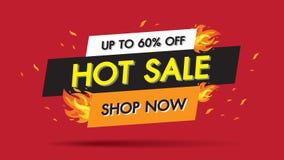 热的销售火烧伤模板横幅构思设计,大销售专辑60%提议 季节特价优待横幅的末端现在购物 向量 向量例证