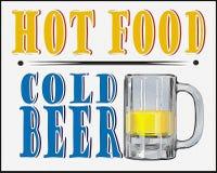 热的食物冰镇啤酒海报 免版税图库摄影