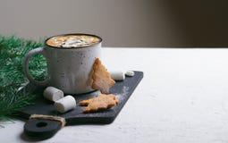 热的饮料用蛋白软糖和圣诞节曲奇饼、杯子可可粉或咖啡饮料 图库摄影