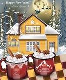 热的饮料红色杯子,黄色房子门面背景 冬天家庭假日卡片传染媒介详细的例证 图库摄影